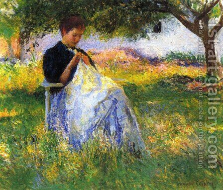 A Girl Sewing in an Orchard by Edmund Charles Tarbell - Reproduction Oil Painting