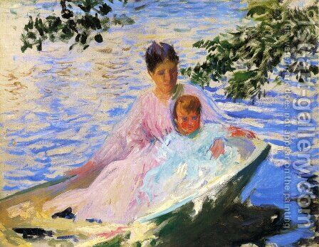 "Study for 'Mother and Child in a Boat"" by Edmund Charles Tarbell - Reproduction Oil Painting"