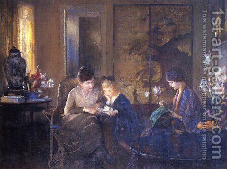 The Lesson by Edmund Charles Tarbell - Reproduction Oil Painting