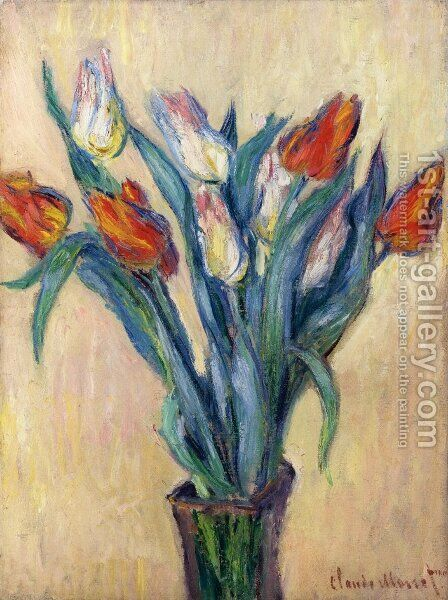 Vase of Tulips I by Claude Oscar Monet - Reproduction Oil Painting