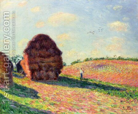 Haystacks by Alfred Sisley - Reproduction Oil Painting