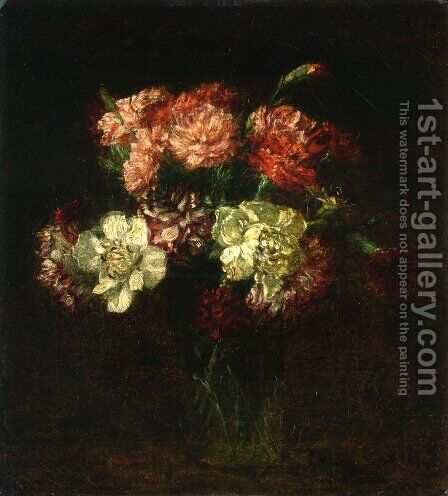 Carnations I by Ignace Henri Jean Fantin-Latour - Reproduction Oil Painting