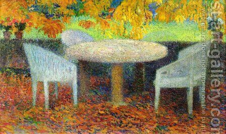 The Large Stone Table under the Chestnut Street at Marquayrol by Henri Martin - Reproduction Oil Painting