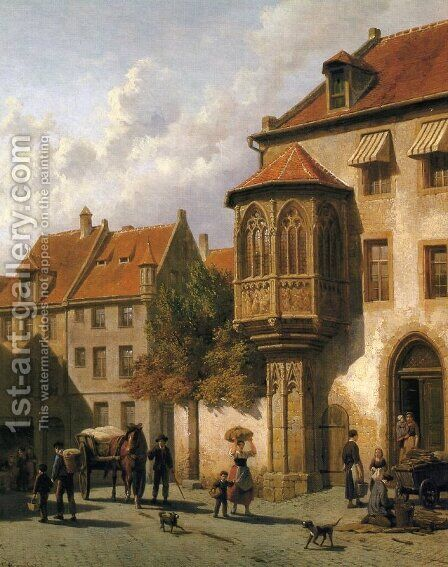 Figures in the Street of a Dutch Town by Jacques Carabain - Reproduction Oil Painting