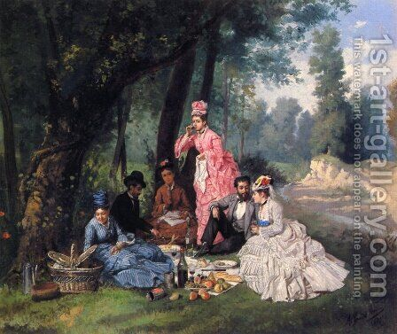The Picnic by Antonio Garcia Y Mencia - Reproduction Oil Painting