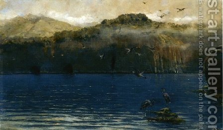 Herons along the Amalfi Coast by Alceste Campriani - Reproduction Oil Painting