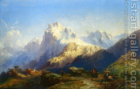 Il Gran Sasso d'Italia by Carlo Bossoli - Reproduction Oil Painting