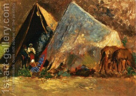 Zingari Encampment by Alfons Hollaender - Reproduction Oil Painting