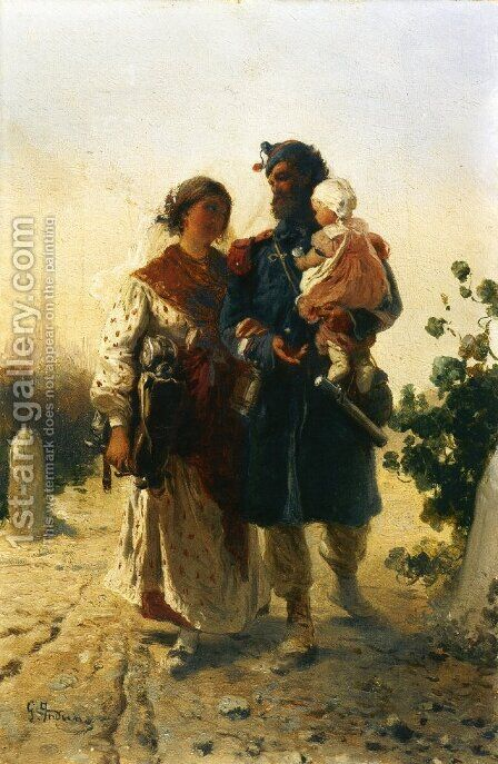 The Return of the Soldier by Girolamo Induno - Reproduction Oil Painting