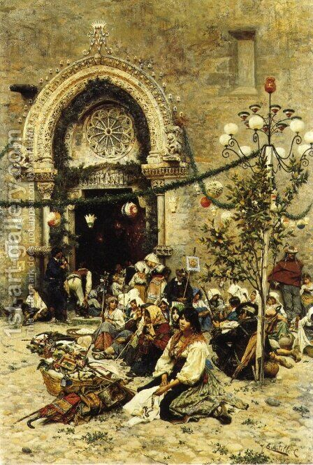 A Rest from the Festival by Cesare Tiratelli - Reproduction Oil Painting