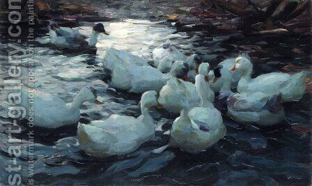 Ducks Feeding by Alexander Max Koester - Reproduction Oil Painting