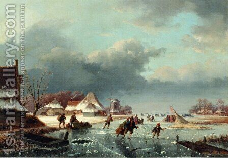 Figures Skating on a Frozen River by Andreas Schelfhout - Reproduction Oil Painting