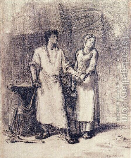 The Blacksmith and His Bride by Jean-Francois Millet - Reproduction Oil Painting