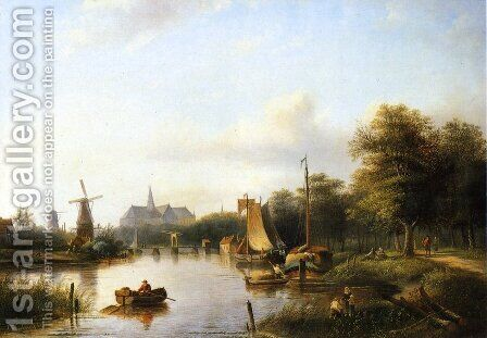 A View of the River Spaarne, Haarlem, with Moored Shipping and a Hay-Barge, the St. Bavo Church in the Background by Jan Jacob Coenraad Spohler - Reproduction Oil Painting