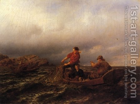 Hauling in the Nets by Hans Fredrik Gude - Reproduction Oil Painting
