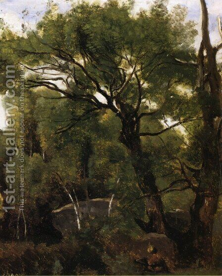 An Artist Painting in the Forest of Fountainebleau by Jean-Baptiste-Camille Corot - Reproduction Oil Painting