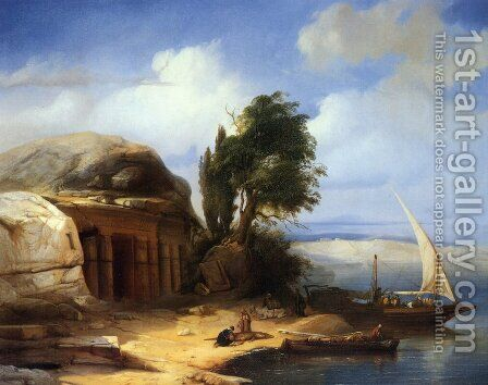 On the Banks of the Nile by Jacobus Jacobs - Reproduction Oil Painting