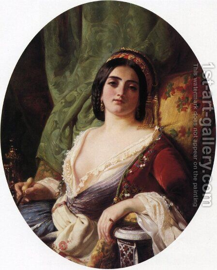 A Young Woman from Smyrna by Charles Edouard Boutibonne - Reproduction Oil Painting