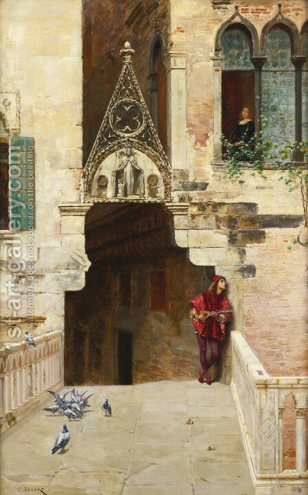 Romeo and Juliet (Act II, Scene II, Capulet's Garden) by Charles Edouard Edmond Delort - Reproduction Oil Painting