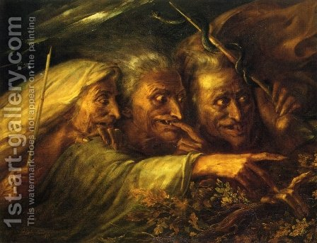 The Three Witches from MacBeth by Alexandre-Marie Colin - Reproduction Oil Painting