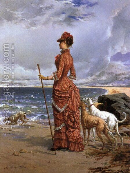 Elegant Lady Walking Her Greyhounds on the Beach by Edmond-Louis Dupain - Reproduction Oil Painting