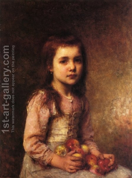 Portrait of a Young Girl with Apples by Alexei Alexeivich Harlamoff - Reproduction Oil Painting