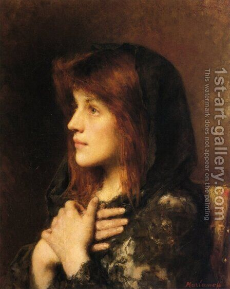 Contemplation 2 by Alexei Alexeivich Harlamoff - Reproduction Oil Painting