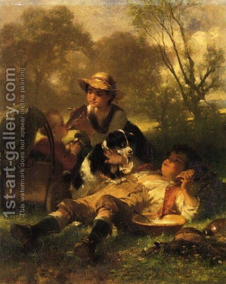 Children Playing Family by Jakob Grünenwald - Reproduction Oil Painting