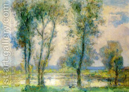 Near the Lake by Albert Lebourg - Reproduction Oil Painting
