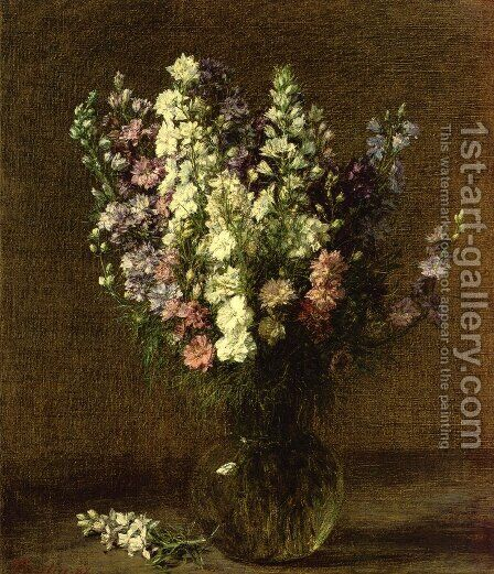 Larkspur by Ignace Henri Jean Fantin-Latour - Reproduction Oil Painting