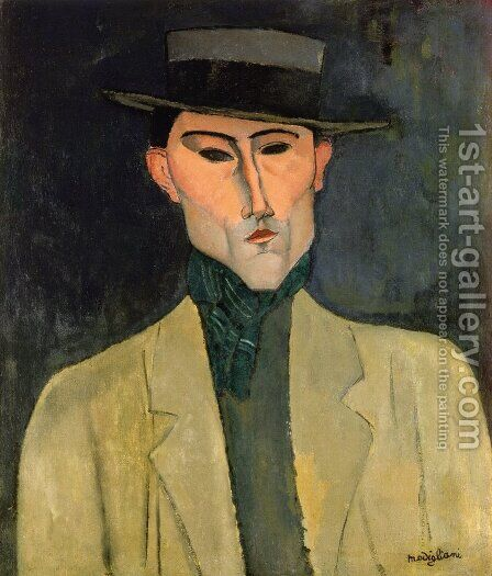 Man witih Hat by Amedeo Modigliani - Reproduction Oil Painting