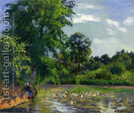 Ducks on the Pond at Montfoucault by Camille Pissarro - Reproduction Oil Painting