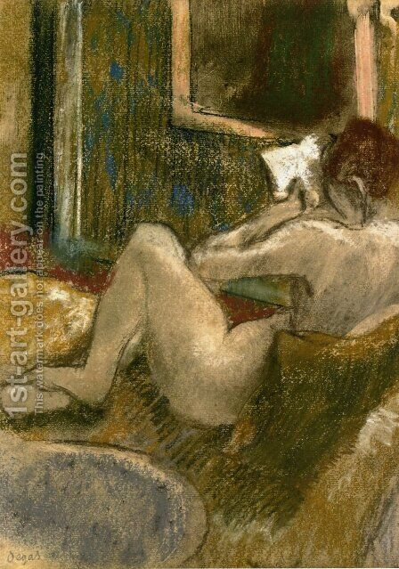 Nude from the Rear, Reading by Edgar Degas - Reproduction Oil Painting