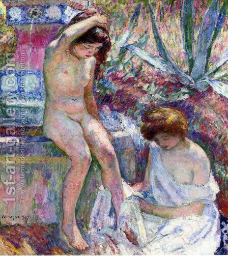 Marthe and Madame Lebasque at the Fountain by Henri Lebasque - Reproduction Oil Painting