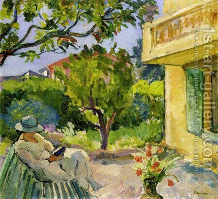 Le Cannet, Madame Lebasque Reading in the Garden by Henri Lebasque - Reproduction Oil Painting