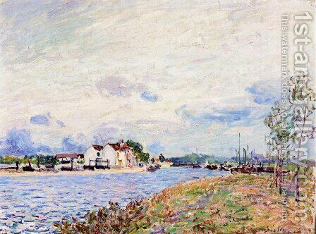 The Mouth of the Loing at Saint-Mammes by Alfred Sisley - Reproduction Oil Painting