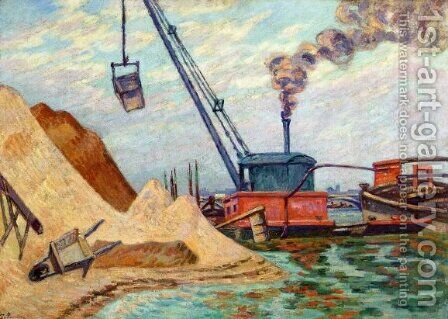 Sand Quarry, Quai d'Austerlitz, Morning by Armand Guillaumin - Reproduction Oil Painting