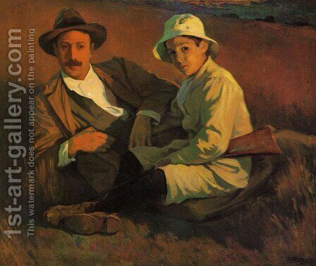 Autor y su Hijo by Carlos Vergel Frorentti - Reproduction Oil Painting