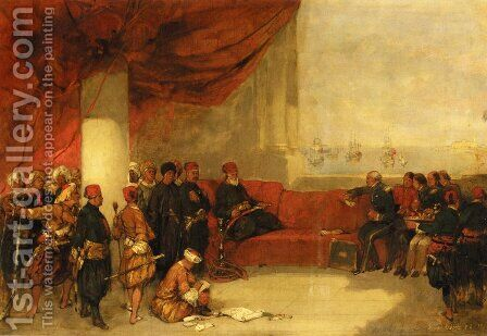 Interview with the Viceroy of Egype at His Palace in Alexandria by David Roberts - Reproduction Oil Painting