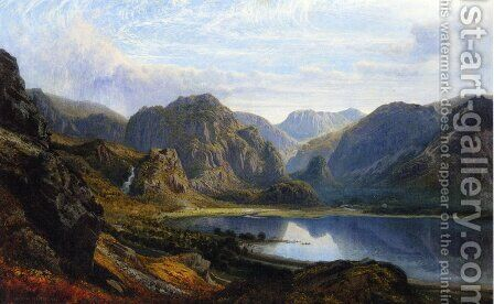 The Head of Derwentwater and Borrowdale from the Raven Crag near Barrow by Charles Pettitt - Reproduction Oil Painting
