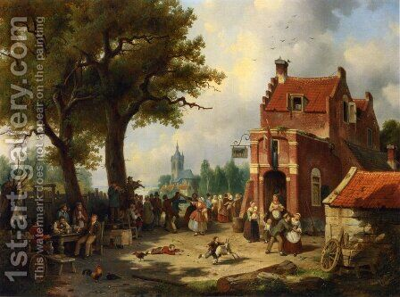 Festivities outside the Inn by Jacques Carabain - Reproduction Oil Painting