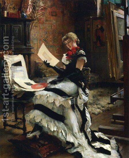 Chez l'Artiste by Albert Edelfelt - Reproduction Oil Painting