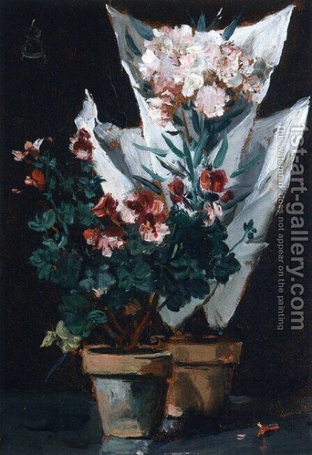 Still Life wit Potted Geraniums by Alfred-Emile-Leopole Stevens - Reproduction Oil Painting