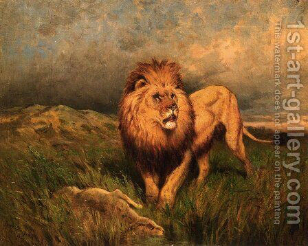 Lion and Prey by Rosa Bonheur - Reproduction Oil Painting