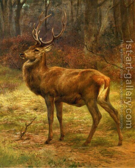 Stag in an Autumn Landscape by Rosa Bonheur - Reproduction Oil Painting