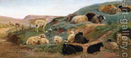 Sheep in a Mountainous Landscape by Rosa Bonheur - Reproduction Oil Painting