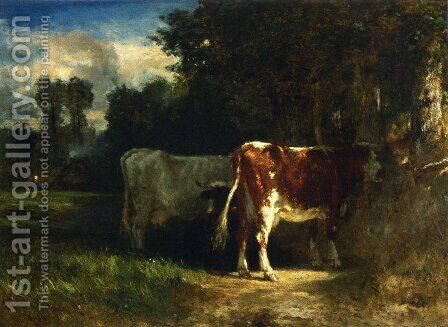 Cows in a Landscape by Constant Troyon - Reproduction Oil Painting