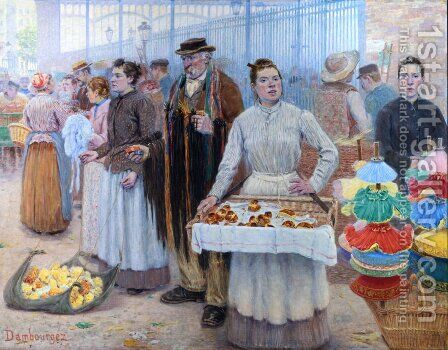 The Tinker Dealers of Les Halles by Edouard-Jean Dambourgez - Reproduction Oil Painting