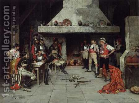 Militares en la Taberna by Domingo Munoz y Cuesta - Reproduction Oil Painting