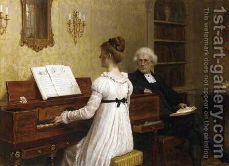 The Piano Lesson by Edmund Blair Blair Leighton - Reproduction Oil Painting